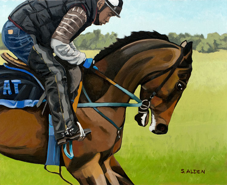 Breezing, race horse and jockey, oil painting on panel