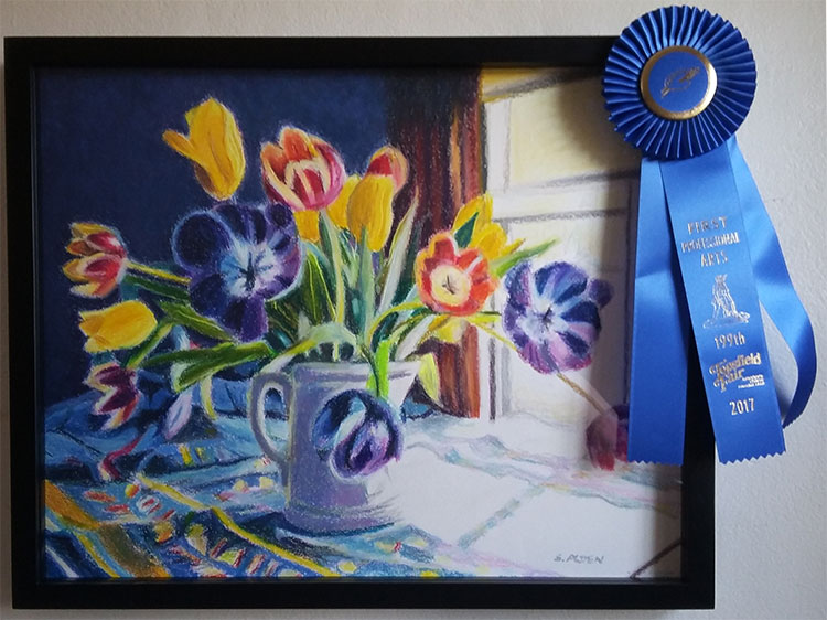 Oil pastel painting, Surprise! won the blue ribbon in the Professional Artist Pastel Category. It is being displayed at the Professional Art Exhibit held in Coolidge Hall (the arts and crafts building), at this year's Topsfield Fair.