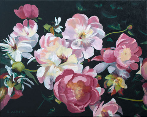 Harmony, flower oil painting, a cascade of pink peonies on a dark green background.