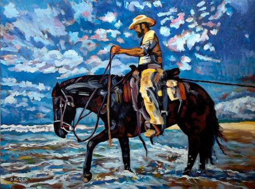 Western horse oil painting, rider and horse moving along the ocean shore towing an unseen boat.