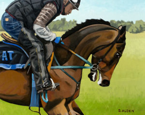Original fine art race horse oil painting, title: Breezing, by Sheila Alden