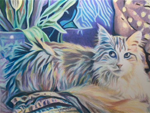 The Orange Cat, a fine art oil pastel painting of a Maine Coon cat, by Sheila Alden.