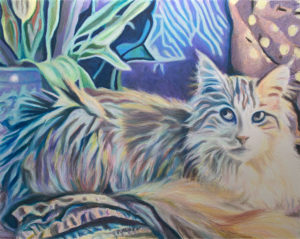 The Orange Cat, oil pastel painting of an orange Maine Coon cat, by artist Sheila Alden.