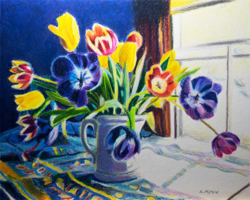 Surprise! Oil pastel painting of tulips in a vase.