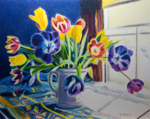 Surprise! Oil pastel painting of a vase full of colorful tulips.