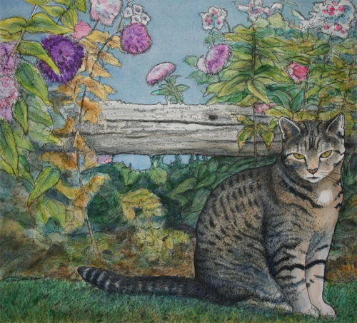 Sparky the cat watercolor painting