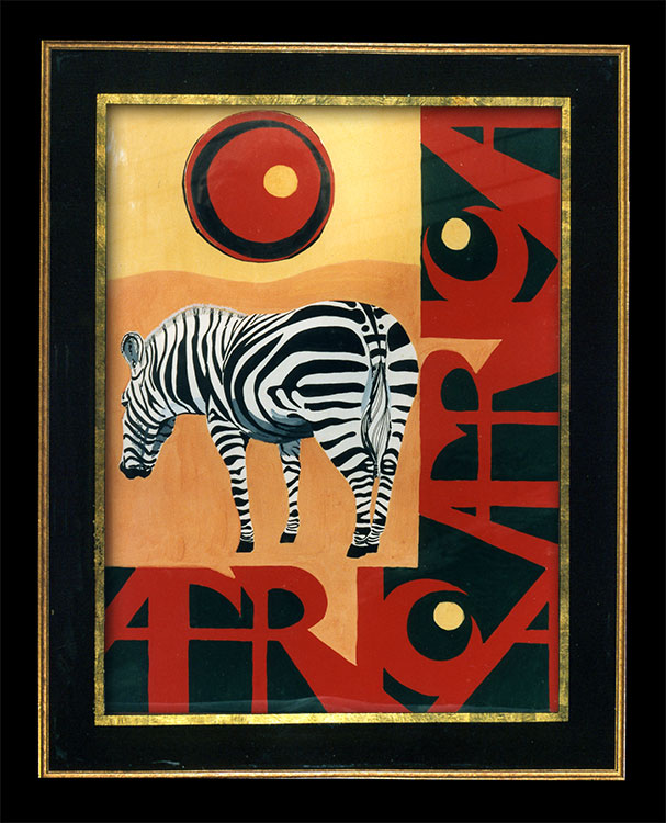 Africa is a poster featuring a zebra, created with opaque watercolors during art classes at Emmanuel College.