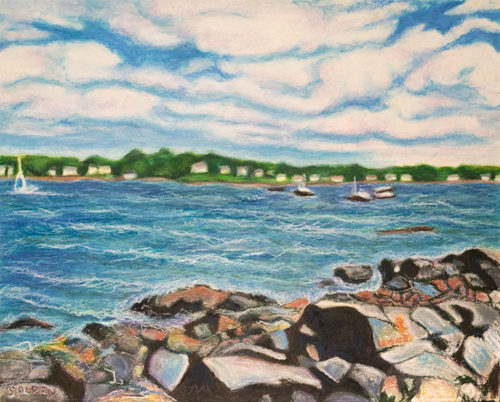 Heavy Weather marine oil pastel painting is of a scene from Winter Island, Salem, MA.