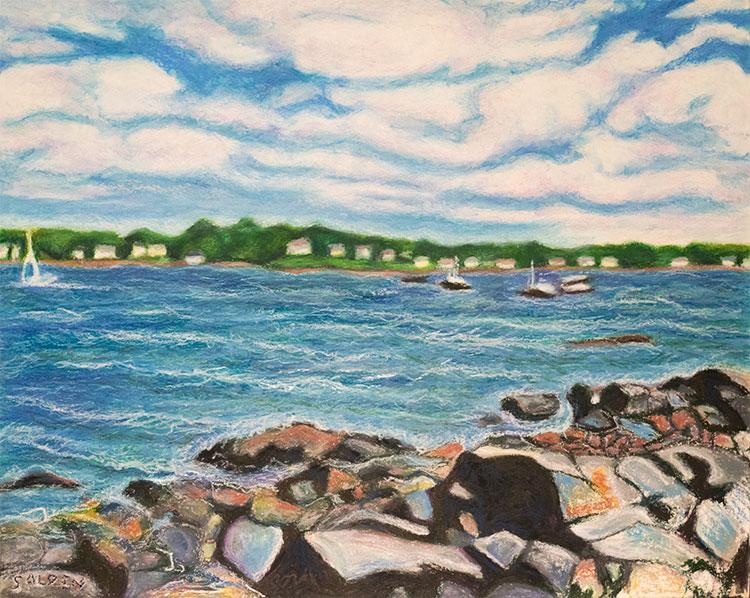 Heavy Weather, marine oil pastel painting