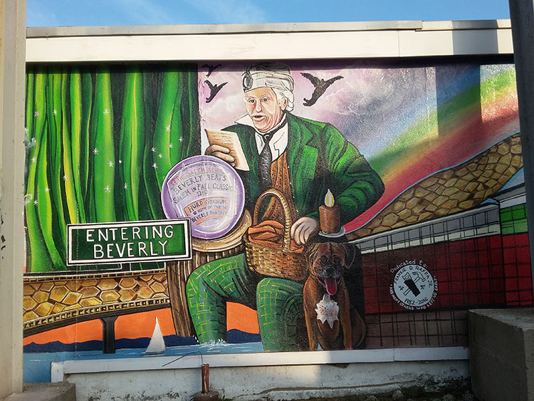This mural on the outside of Todd's Sporting Goods, in Beverly MA, features the Wizard of Oz.