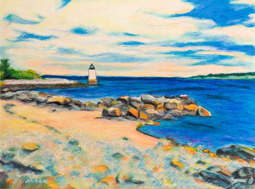 Winter Island Lighthouse painting, an oil pastel painting of the lighthouse at Winter Island, Salem, MA.