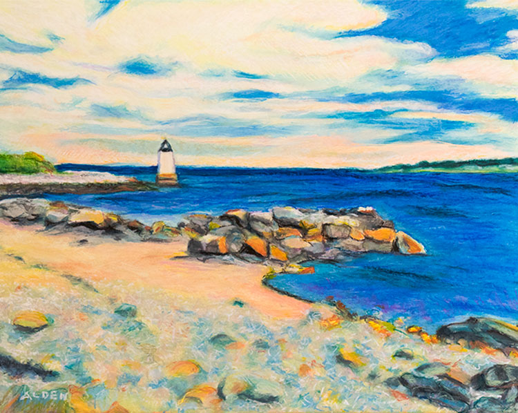 Winter Island Lighthouse, seascape with lighthouse oil pastel painting