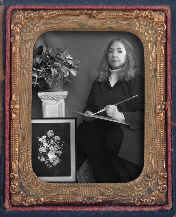 """American Daguerreotype of artist Sheila Alden rendered in a """"faux daguerreotype"""" style."""