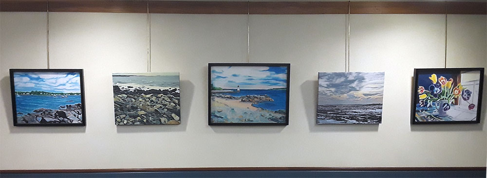 Seascapes, marine and nature paintings are just a few of the subjects the artist, Sheila Alden enjoys creating.