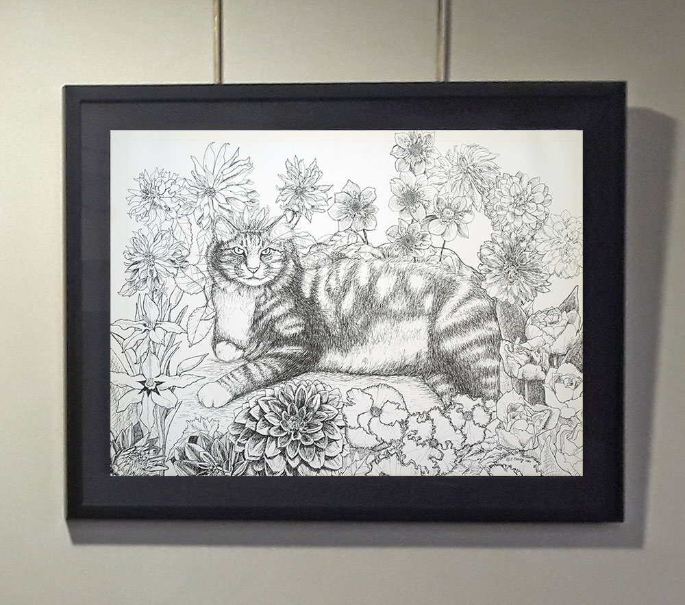 This intricate India ink drawing is one of the featured works at the Beverly Public Library art show.